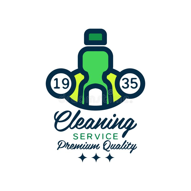 Original linear logo design with green detergent bottle for house cleaning. Premium quality services. Flat vector. Original linear logo design with green royalty free illustration