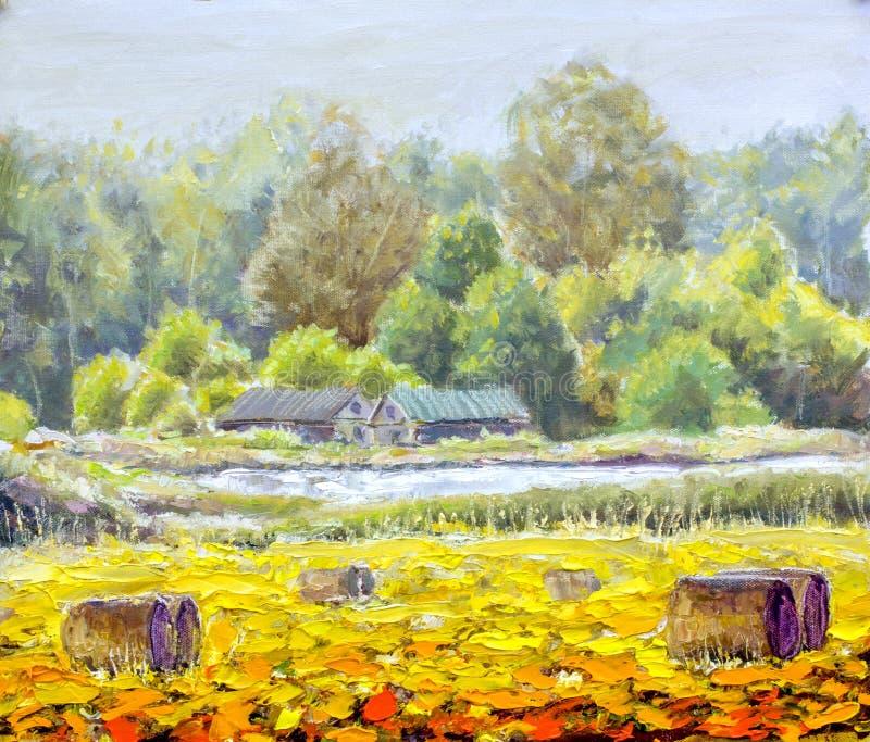 Original- liv för olje- målning i bygd på kanfas Härligt lantligt landskap, by, två hus, fält - modern konst royaltyfri foto