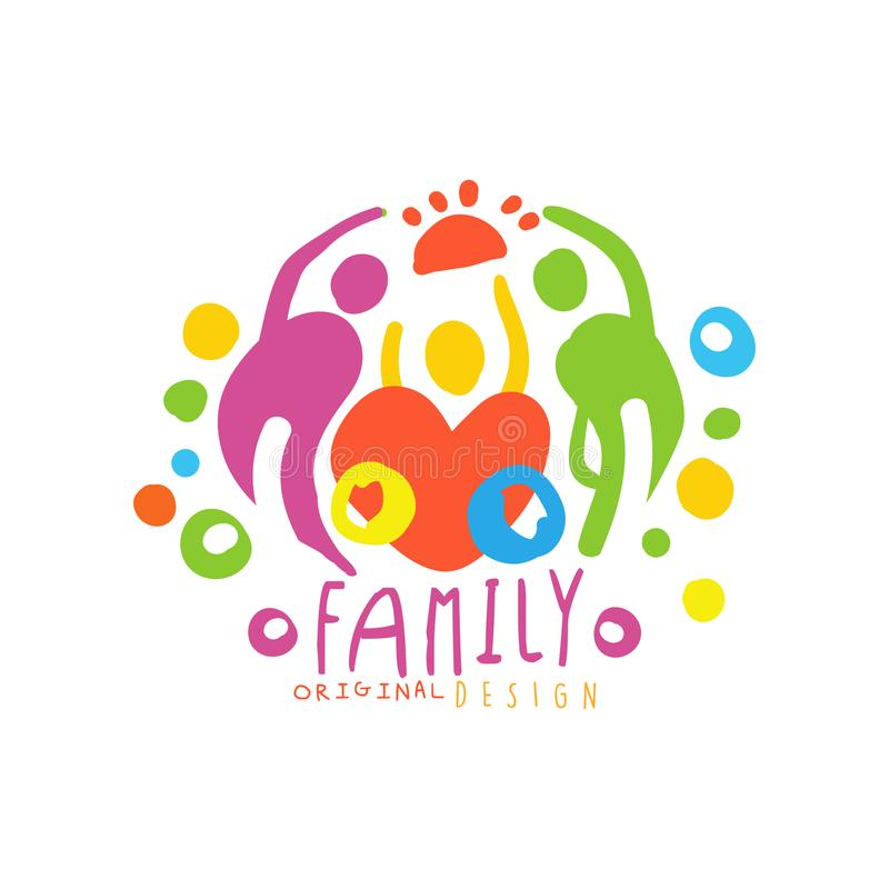Original logo design with happy family and big heart royalty free illustration