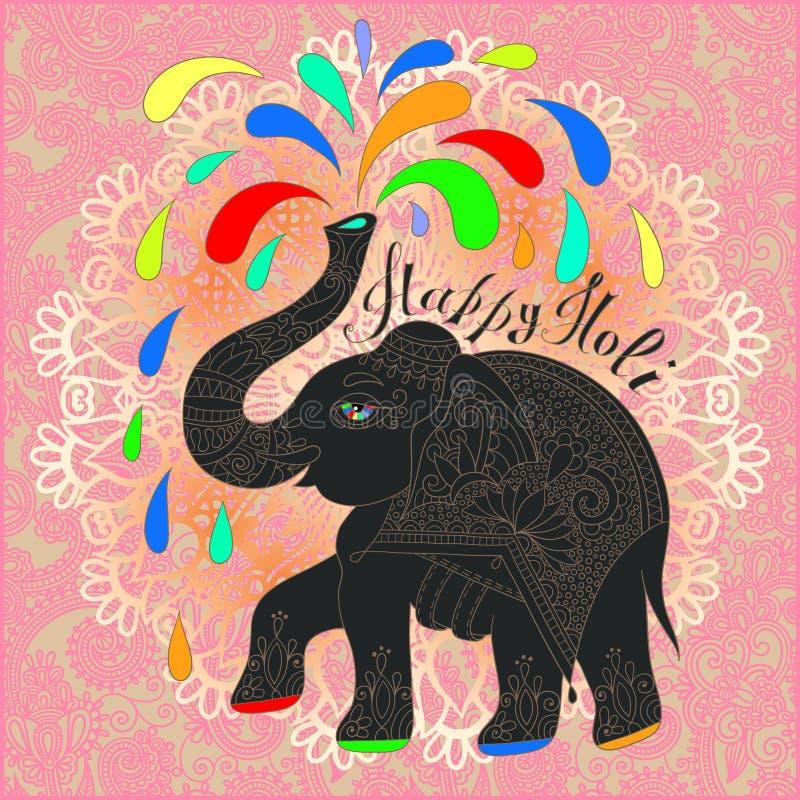 Original- lycklig Holi design med elefanten på blom- indisk backgr stock illustrationer