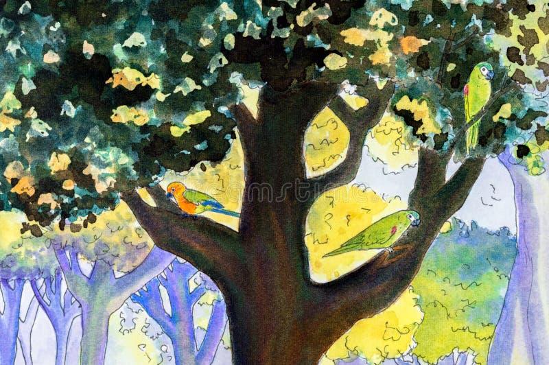 Original- målning av tre papegojor i ett träd vektor illustrationer