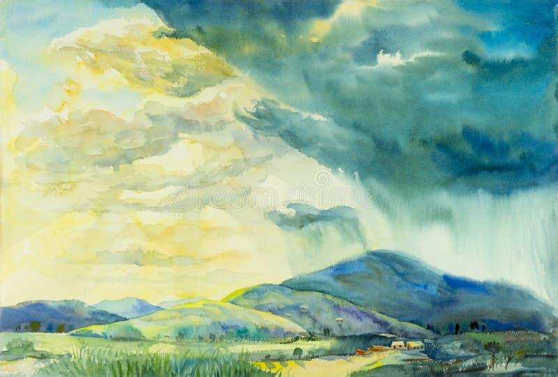 Original- målning för vattenfärglandskap som är färgrik av soligt regn royaltyfri illustrationer