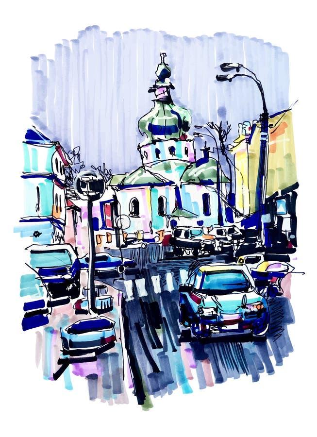 Original marker urban sketch on paper of Kyiv Podol landscape royalty free illustration