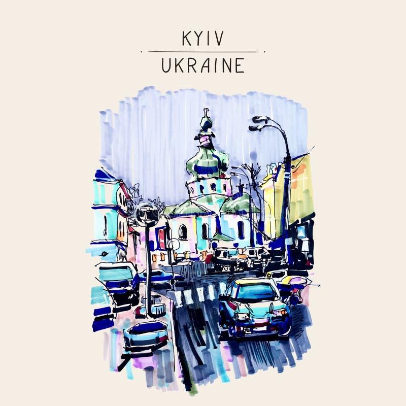 Original marker urban sketch on paper of Kyiv Podol landscape wi. Th church, road, cars, lantern and building, travel card vector illustration royalty free illustration