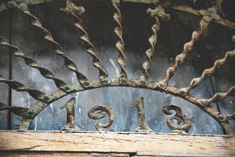 Original metal grating that protects a property stock photos