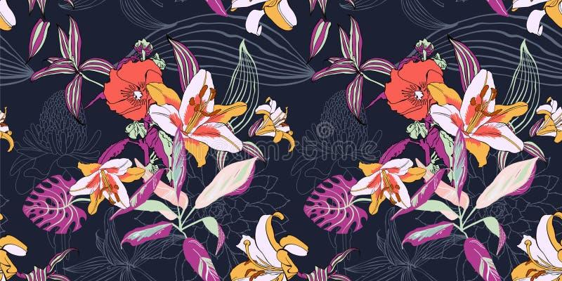 Original- moderiktig sömlös konstnärlig blommamodell, härlig trop vektor illustrationer