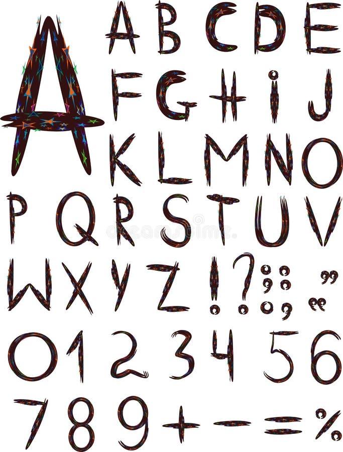 Original multi-coloured font. Isolated on a white background stock illustration