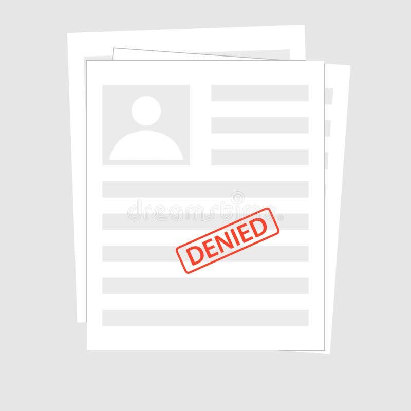 Original negado da rejeição com selo Conceitos cinzentos da aplicação Vista superior Elementos gráficos do projeto liso moderno p ilustração royalty free
