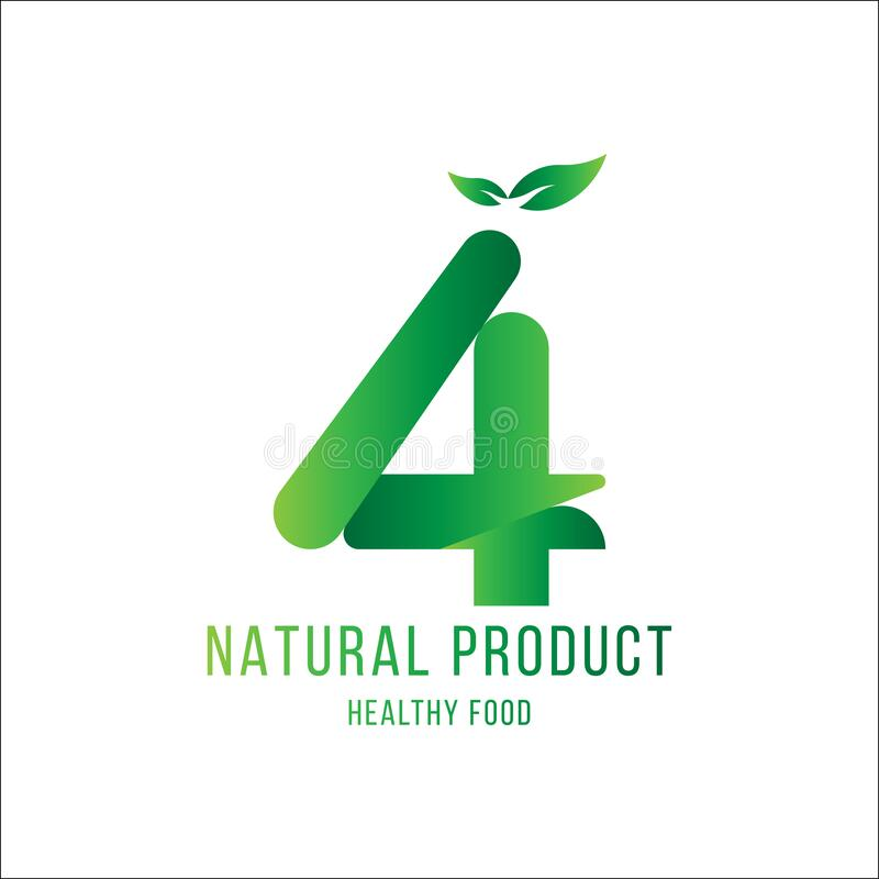 Original number 4 for logotype. Natural product with green tree leaf for logo world ecology. Flat Vector Illustration EPS10 royalty free illustration