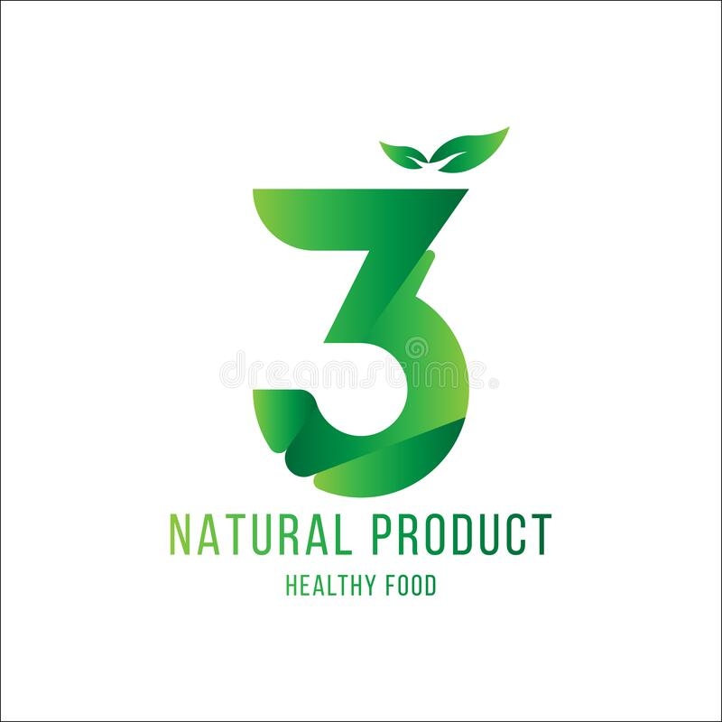 Original number 3 for logotype. Natural product with green tree leaf for logo world ecology. Flat Vector Illustration EPS10 stock illustration