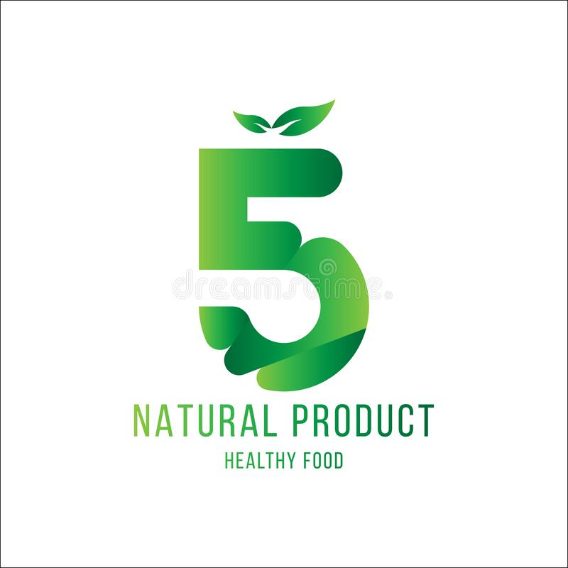 Original number 5 for logotype. Natural product with green tree leaf for logo world ecology. Flat Vector Illustration EPS10 stock illustration