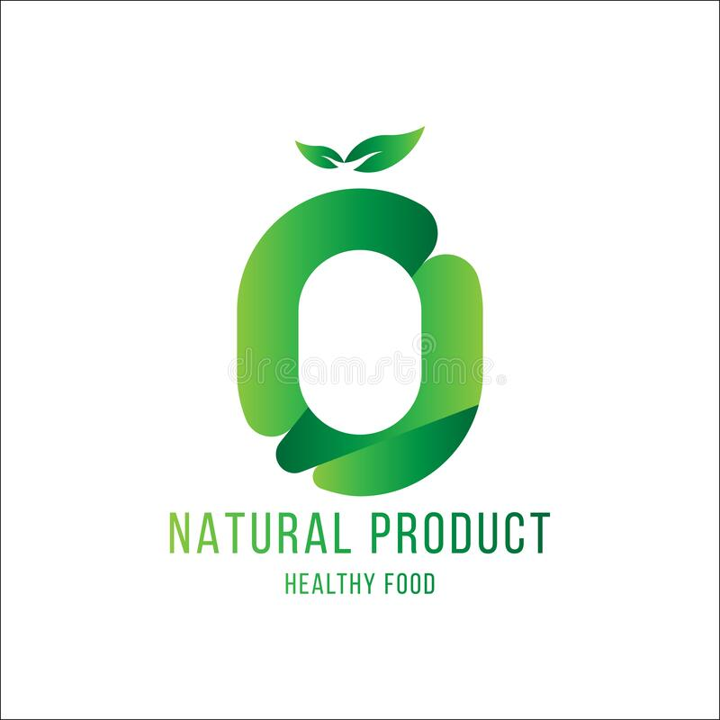 Original number 0 for logotype. Natural product with green tree leaf for logo world ecology. Flat Vector Illustration EPS10 stock illustration