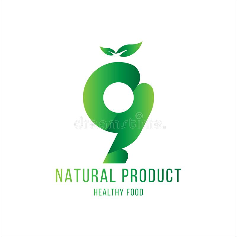 Original number 9 for logotype. Natural product with green tree leaf for logo world ecology. Flat Vector Illustration EPS10 stock illustration