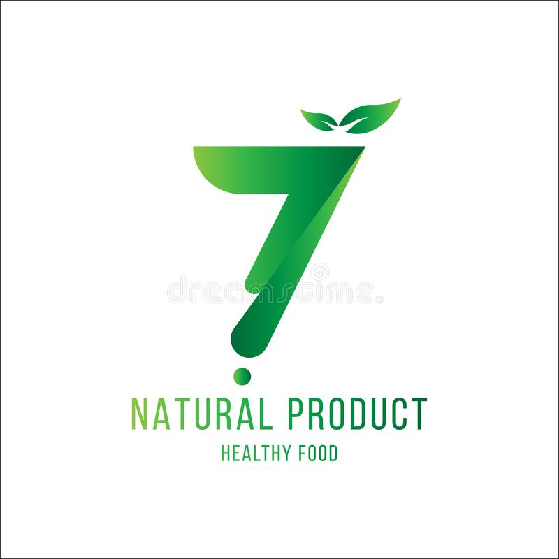 Original number 7 for logotype. Natural product with green tree leaf for logo world ecology. Flat Vector Illustration EPS10 royalty free illustration
