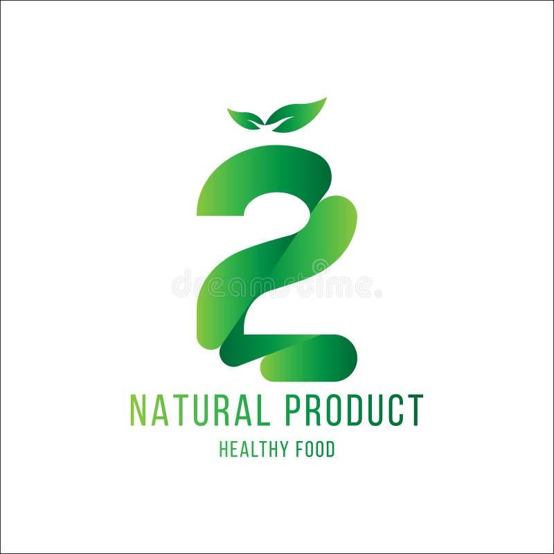Original number 2 for logotype. Natural product with green tree leaf for logo world ecology. Flat Vector Illustration EPS10 vector illustration