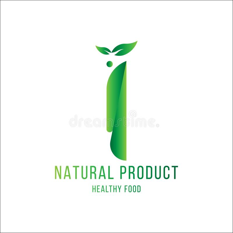 Original number 1 for logotype. Natural product with green tree leaf for logo world ecology. Flat Vector Illustration EPS10 royalty free illustration