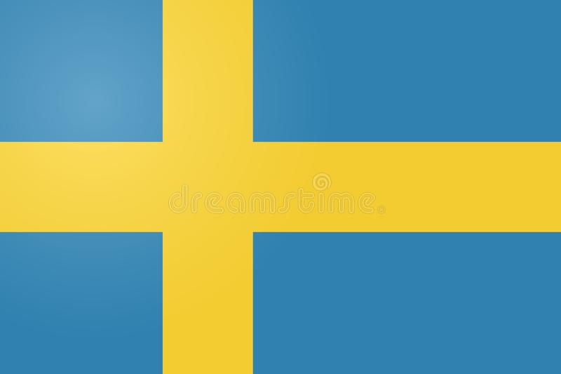 Original- och enkel Sverige flagga isolerad vektor i officiella färger och proportion korrekt stock illustrationer