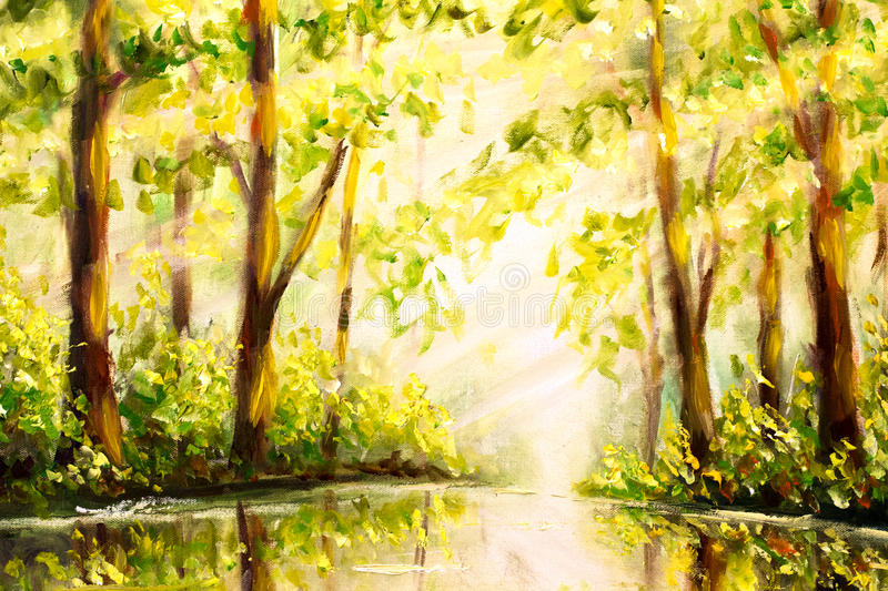 Original Oil hand Painting Reflection of trees in water on canvas - colorful forest painting - Modern impressionism art. royalty free illustration