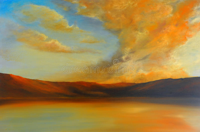 Original Oil Painting. Very Nice Image of an Original Oil Painting On Canvas stock illustration