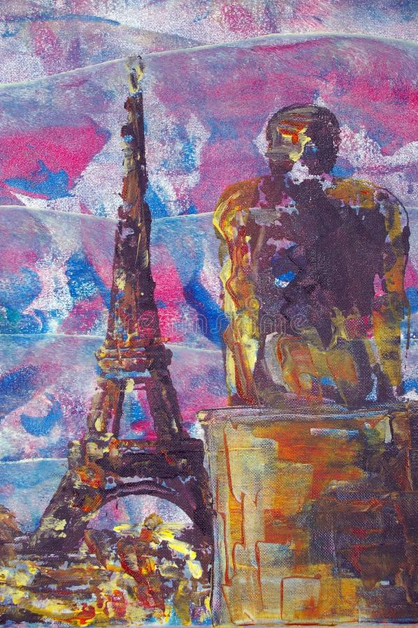 Original oil painting vector illustration
