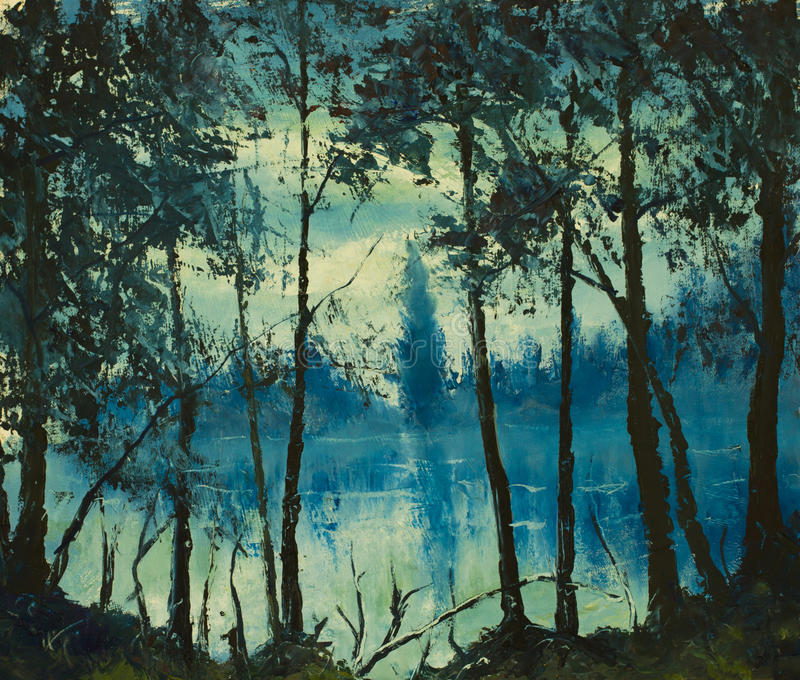 Original oil painting beautiful night sea. Magic wood. Impressionism. vector illustration