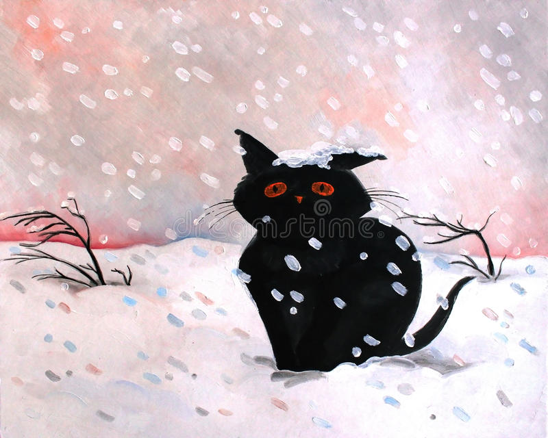Black kitten snow oil painting. Original oil painting black kitten snow.Winter scene. Modern Impressionism. Children`s royalty free illustration