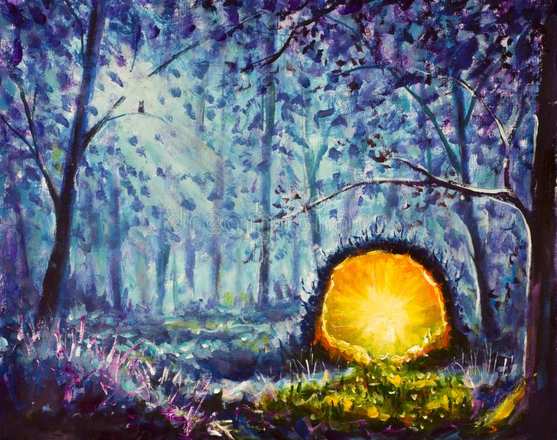Handmade painting A bright yellow portal to another world in a mystical blue forest. Beautiful night forest art. Illustration, fai stock illustration