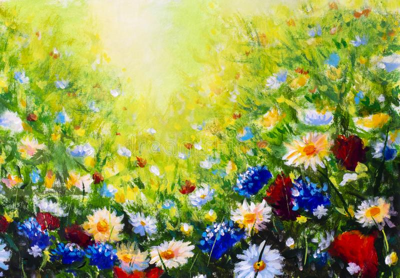 Floral painting landscape. Original oil painting of flowers, beautiful field flowers on canvas. Summer field of flowers. Original oil painting on canvas royalty free stock photography