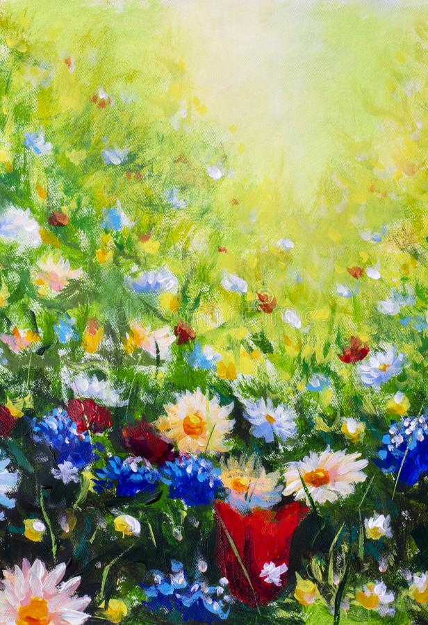 Floral painting landscape. Original oil painting of flowers, beautiful field flowers on canvas. Summer field of flowers. Original oil painting on canvas royalty free stock photo