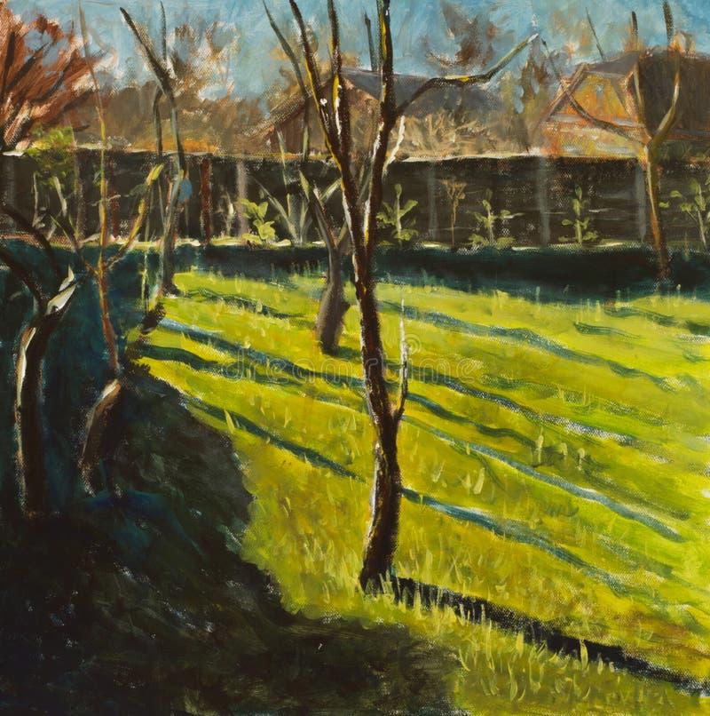 Original oil painting on canvas. Beautiful rural landscape, sunny landscape, fence, trees, distant houses art. Modern impressionis stock illustration