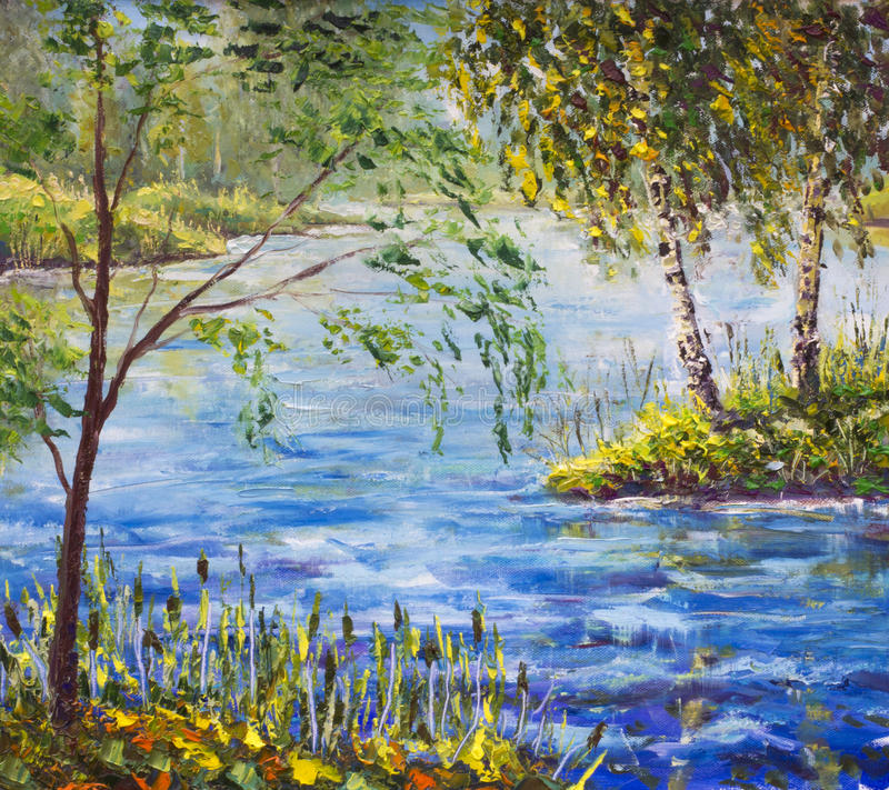 Original Oil Painting on canvas - colorful shore with birches, trees on river bank painting - Modern impressionism art. stock illustration