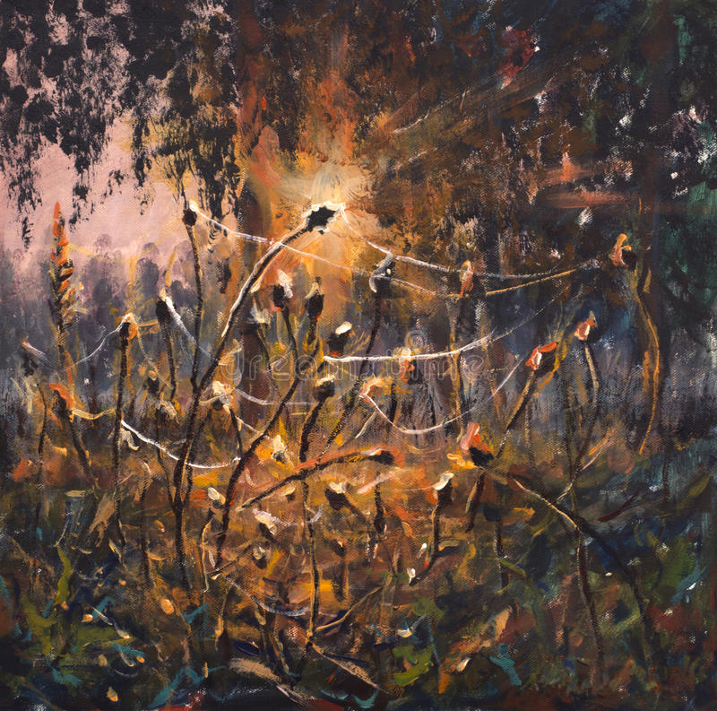 Original Oil Painting on canvas - colorful spider webs in grass painting - Modern impressionism art. Original oil painting macro Evening landscape. Beautiful stock illustration