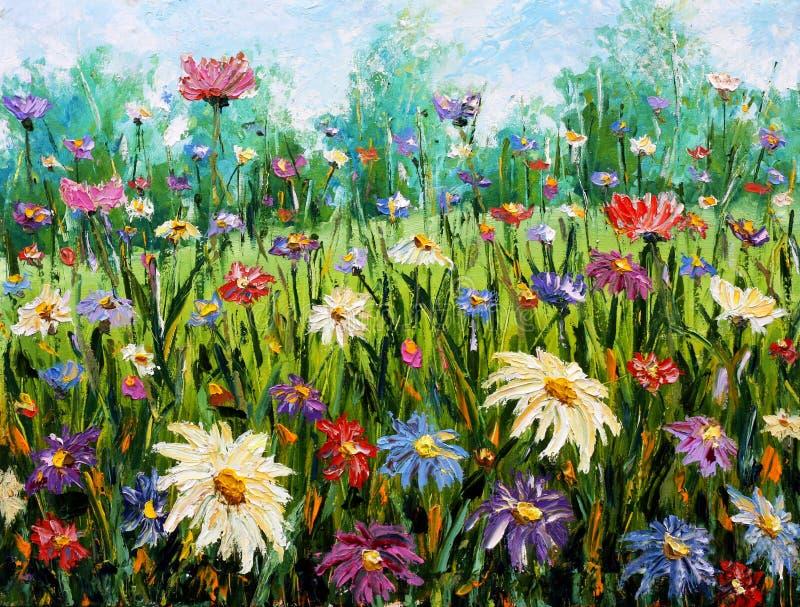 Original oil painting on canvas Wildflowers. vector illustration