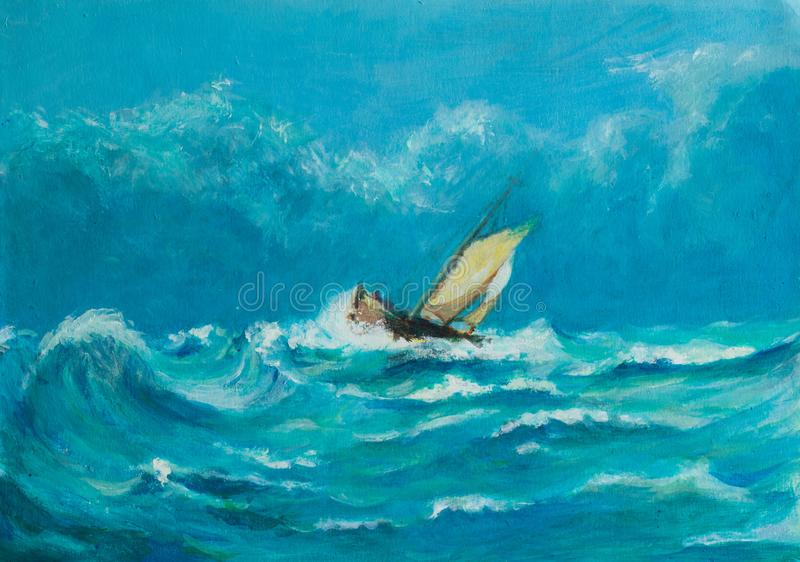 Original oil painting of lonely little sailing ship battling in. A storm on the blue ocean with cloud skies royalty free illustration