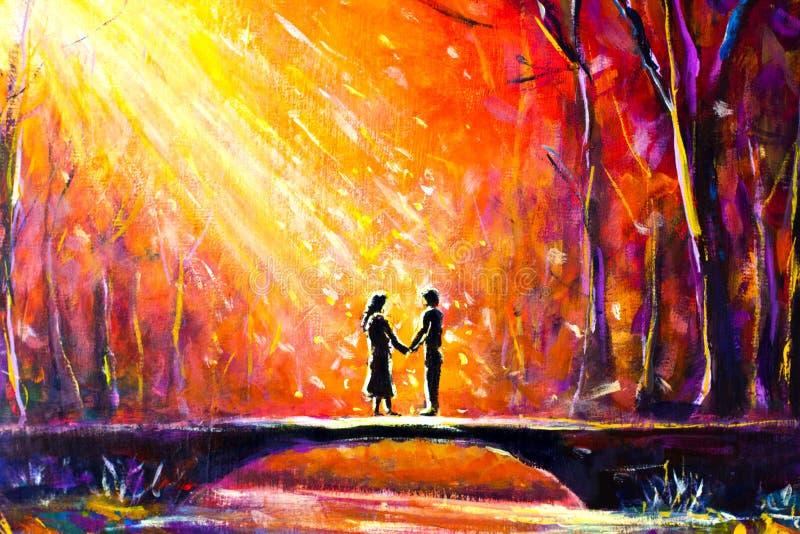 Lovers on bridge in woods at night. Romantic rays on lovers. Love. Romance. Secret love - colorful painting art. vector illustration
