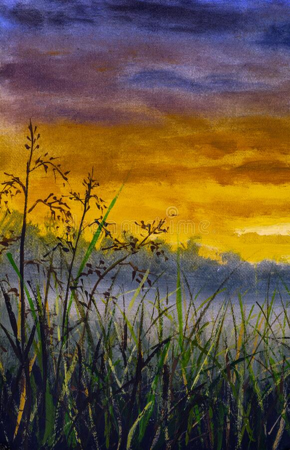 Free Original Oil Painting Of Grass Summer Field Against The Background Of Sky At Sunset Dawn Royalty Free Stock Photo - 217114465