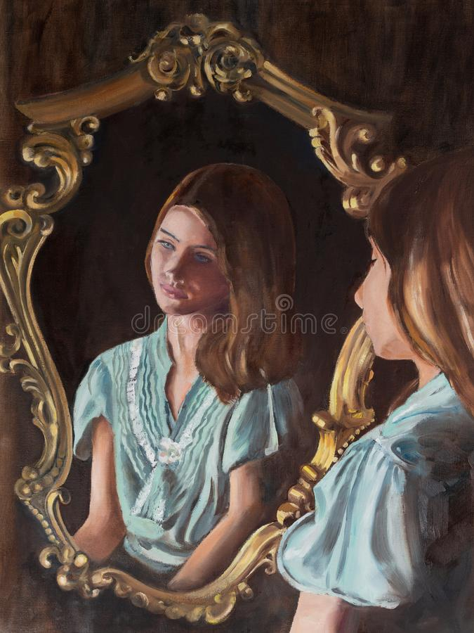 Original oil painting, Portrait of a Young Lady. stock image