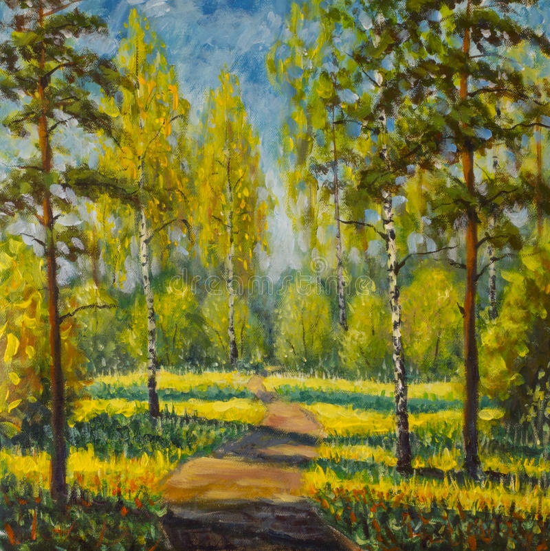 Original oil painting spring trees on canvas. Beautiful spring in forest, shadows on road landscape Modern impressionism artwork royalty free illustration