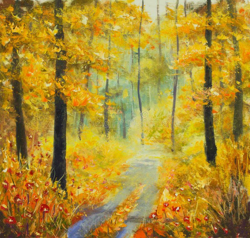 Original oil painting sunny forest landscape, beautiful solar road in the woods on canvas. Road in the autumn forest. royalty free illustration