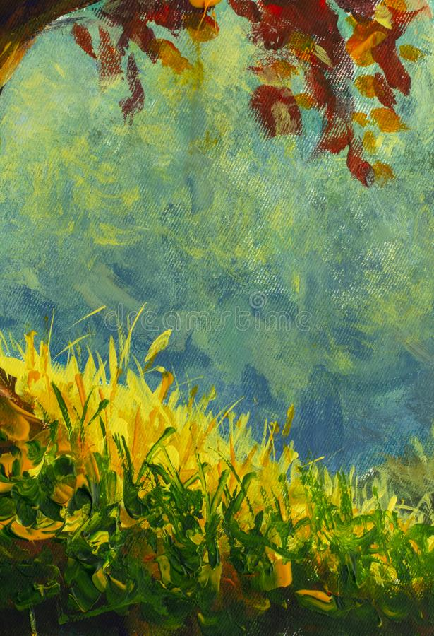 Original oil painting sunny green grass on a blue background close-up fragment of painting i royalty free illustration