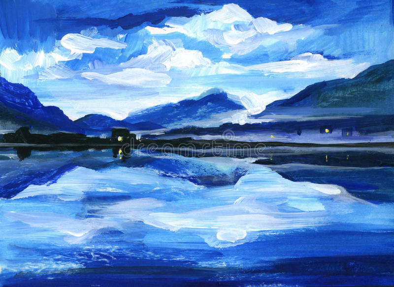 Original Oil Painting of the twilight on mountain lake. Altai royalty free stock image
