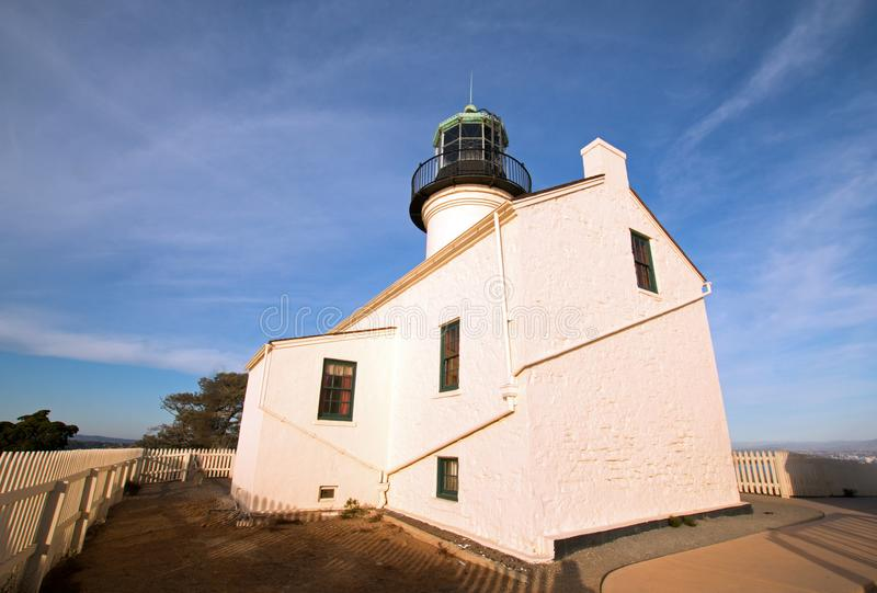 ORIGINAL OLD POINT LOMA LIGHTHOUSE UNDER CIRRUS CLOUD SKIES AT POINT LOMA SAN DIEGO CALIFORNIA USA. ORIGINAL OLD POINT LOMA LIGHTHOUSE POINT LOMA SAN DIEGO stock image