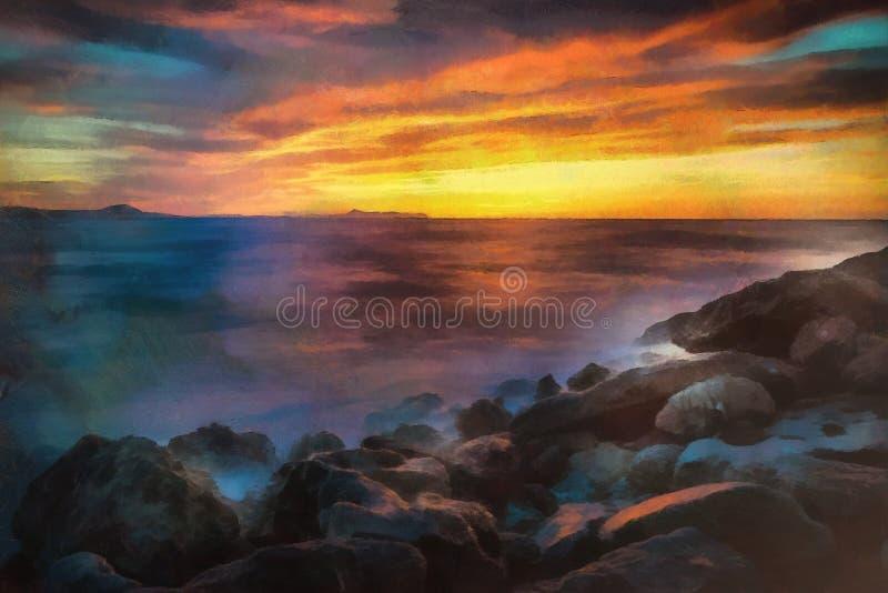 Original- olje- målning av den abstrakta solnedgången över vattnet arkivbild