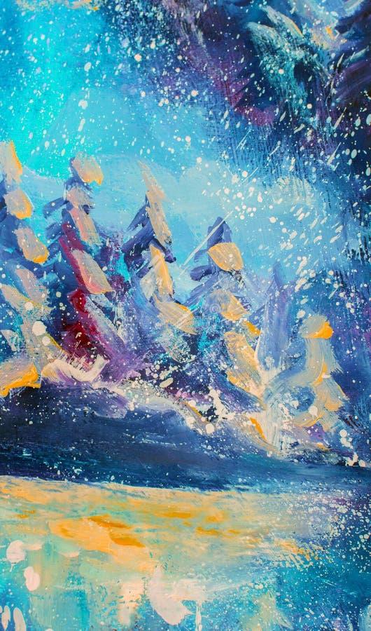 Original- olje- målning för abstrakt felik vinterskog Stora snöig granträd för impressionism mot bakgrund av blå himmel konst stock illustrationer