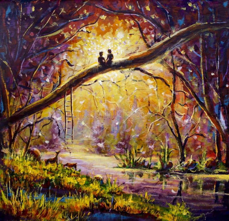 Original- olje- målning på kanfas - grabben och flickan sitter på filial i skog - modern impressionismkonst royaltyfri illustrationer