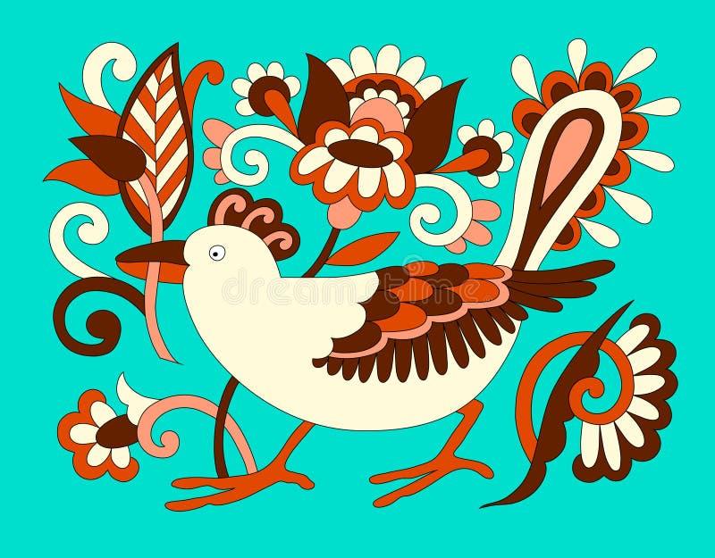 Original- orientalisk dekorativ etnisk fågel med blommor, ethnoukr stock illustrationer