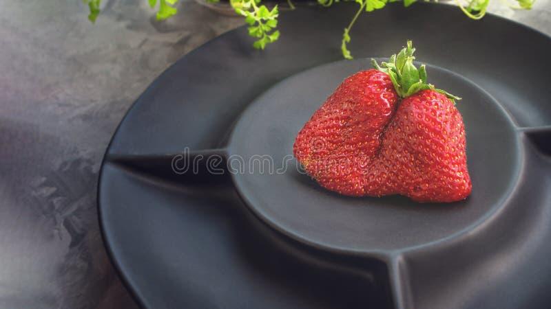 Original- ovanliga forml?gner f?r stora mogna jordgubbar p? en h?rlig svart matte platta p? en gr? bakgrund kopiera avst?nd royaltyfri foto