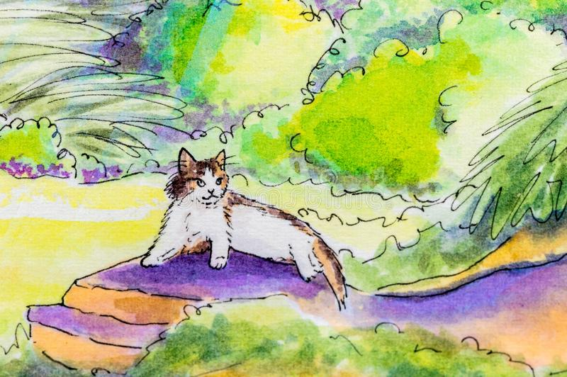 Original painting of a cat lying down outside. stock illustration