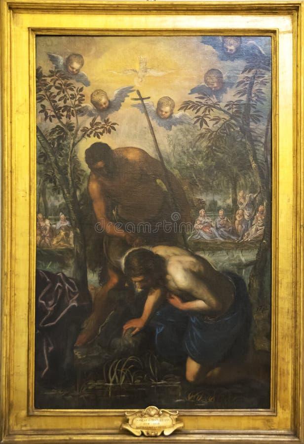 Domenico Tintoretto `Baptism of Christ` stock photo