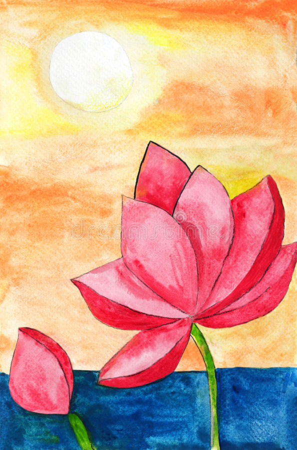 Original painting of a lotus and sun, a child art royalty free illustration